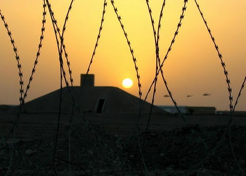 Iraq bunker sunset